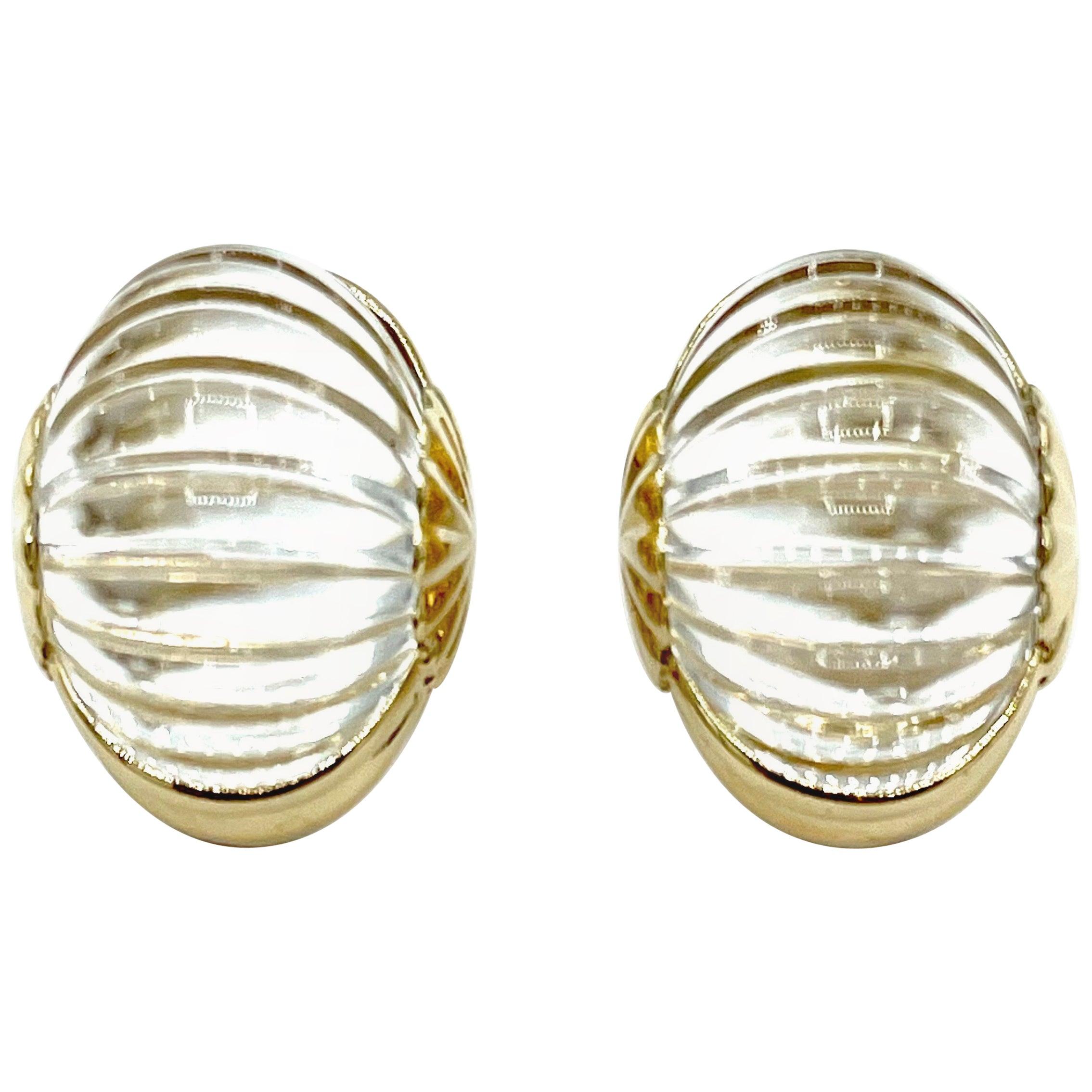 Scalloped Rock Crystal Quartz and 14 Karat Yellow Gold Clip Earrings