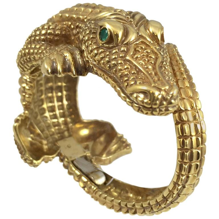 Gold Alligator Bangle Bracelet For Sale