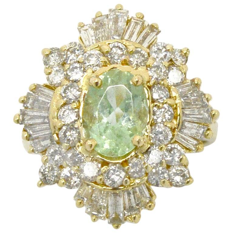 Natural Paraiba Tourmaline Diamond Cocktail Ring Ballerina 3 Carat Yellow Gold