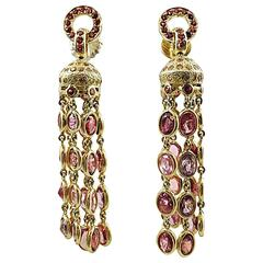 Multi-Color Sapphire Gold Dangle Earrings