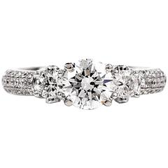 GIA Certified E-SI1  1.71 Carats Diamond Gold Engagement Ring