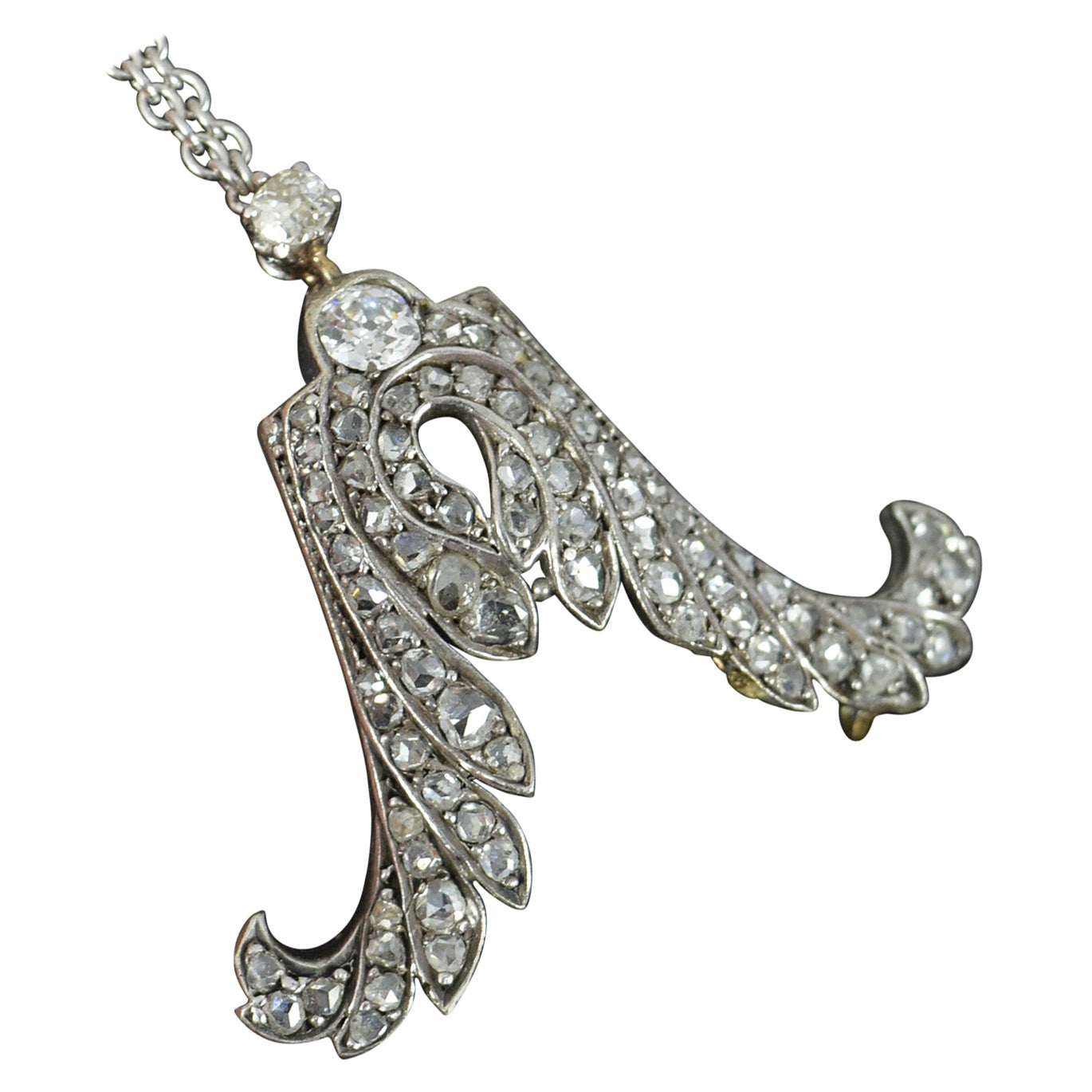 18 Carat White Gold Old and Rose Cut Diamond Double Wing Necklace Pendant