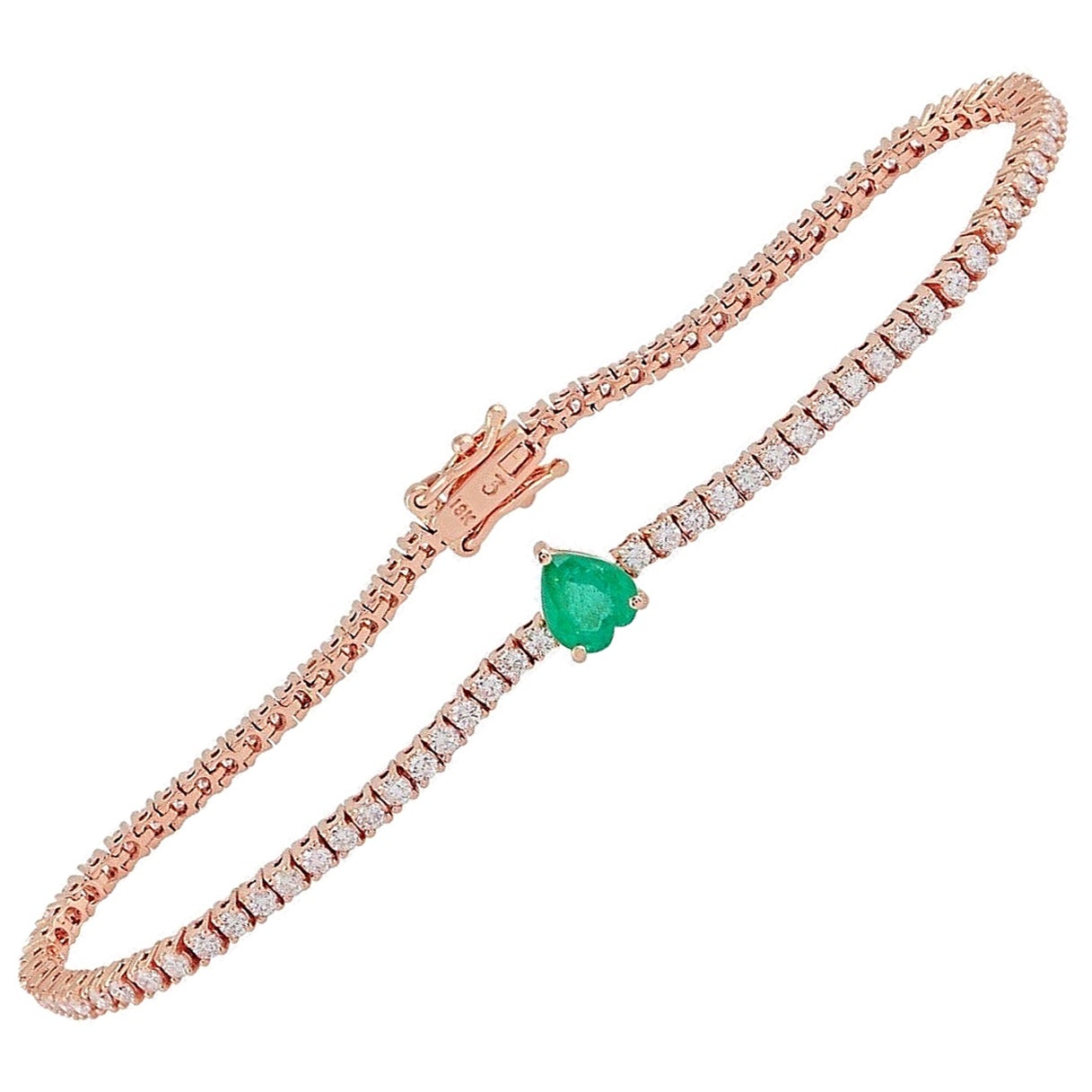 Emerald Diamond 18 Karat Gold Heart Bracelet