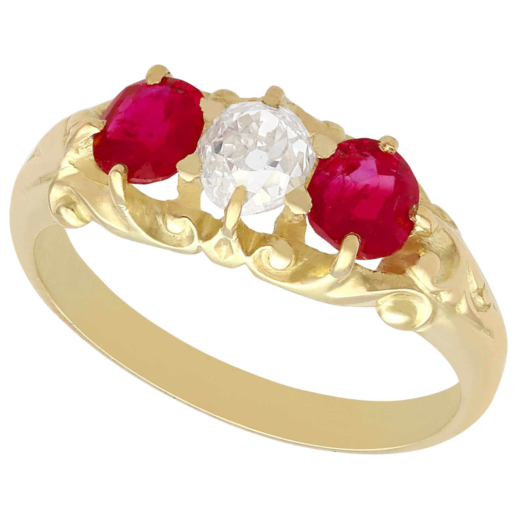 Antique Victorian Diamond and Ruby Yellow Gold Dress Ring