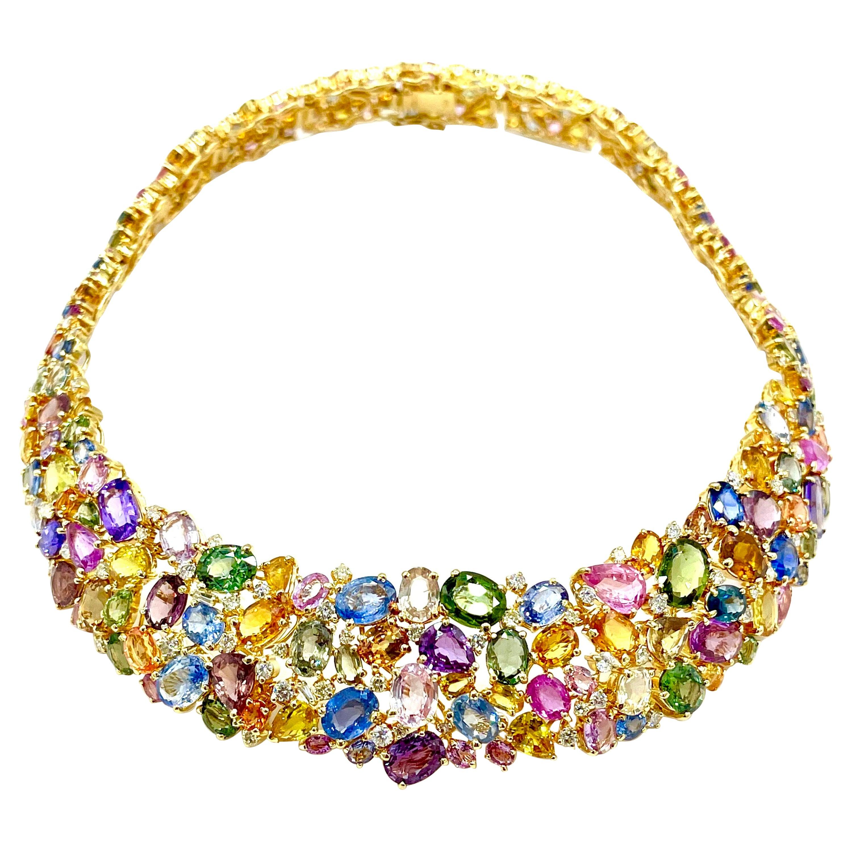 191.00 Carat Natural Multi-Color Sapphire and Diamond 18 Karat Gold Necklace