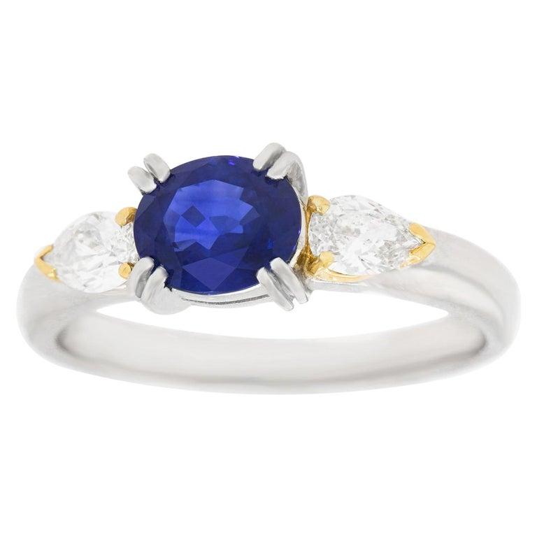 1.33 Carat Sapphire and Diamond-Set Platinum Ring For Sale