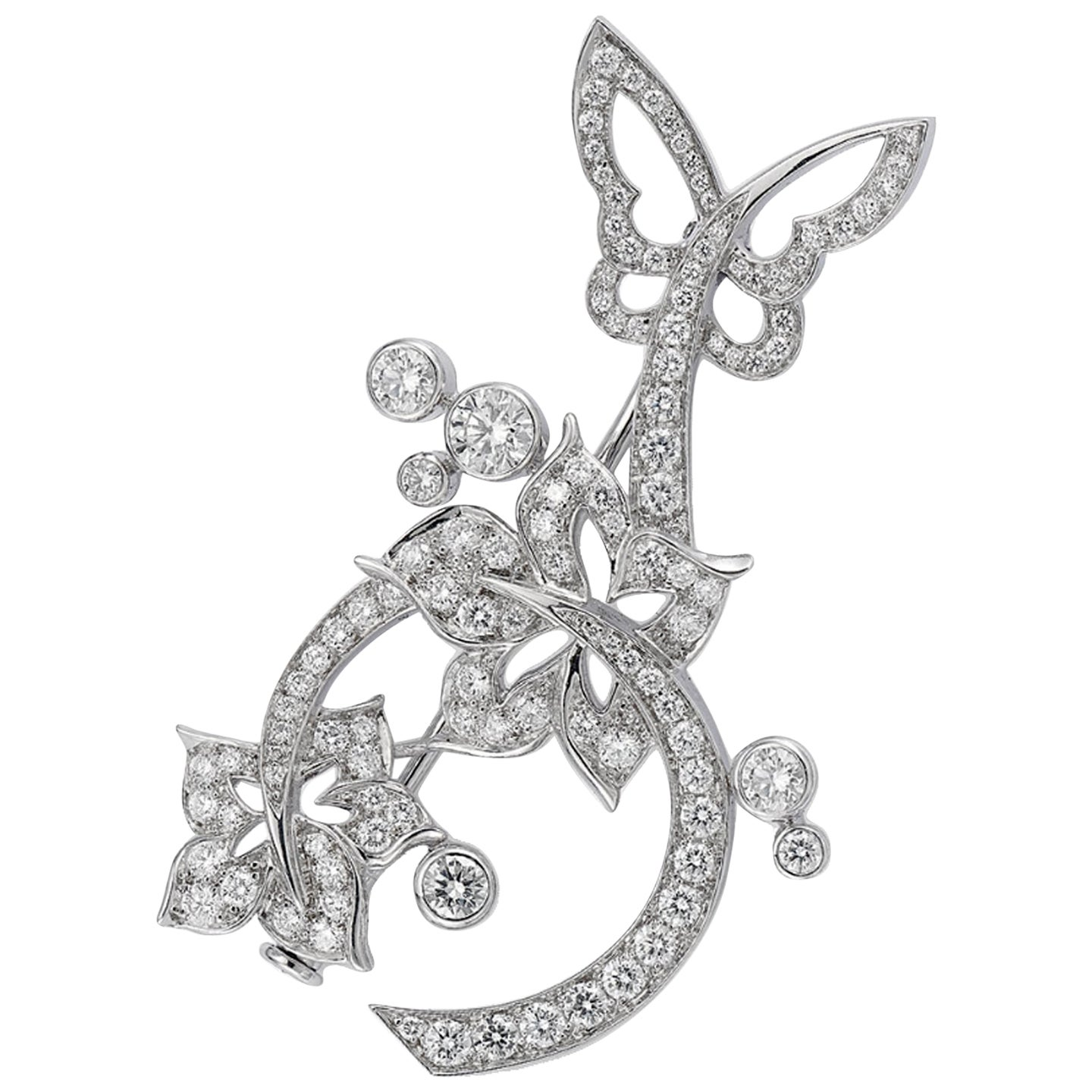 Van Cleef & Arpels Butterfly Diamond White Gold Brooch Necklace