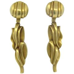 1980s Kieselstein Cord Grape Vine Gold Drop Earrings
