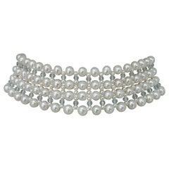 Marina J Woven Large/Small Pearl, Aquamarine, Choker Necklace