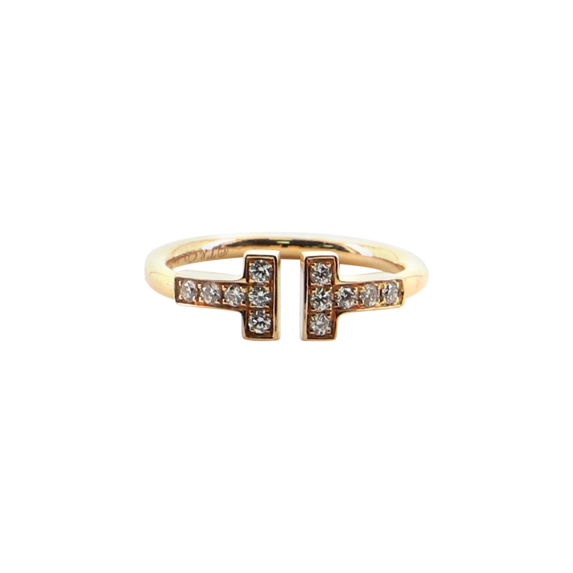 Tiffany & Co. T Wire Ring 18 Karat Rose Gold with Diamonds 4.5 - 48
