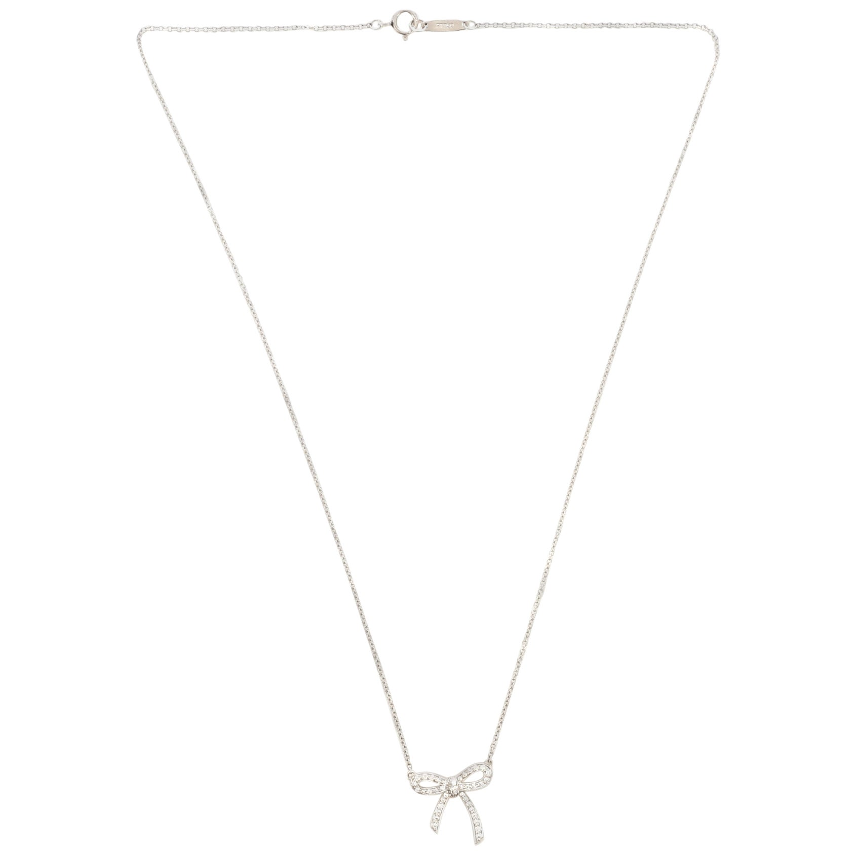 Tiffany & Co. Bow Pendant Necklace Platinum and Diamonds