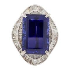 Estate Tanzanite Emerald Cut and White Diamond Cocktail Ring in Platinum