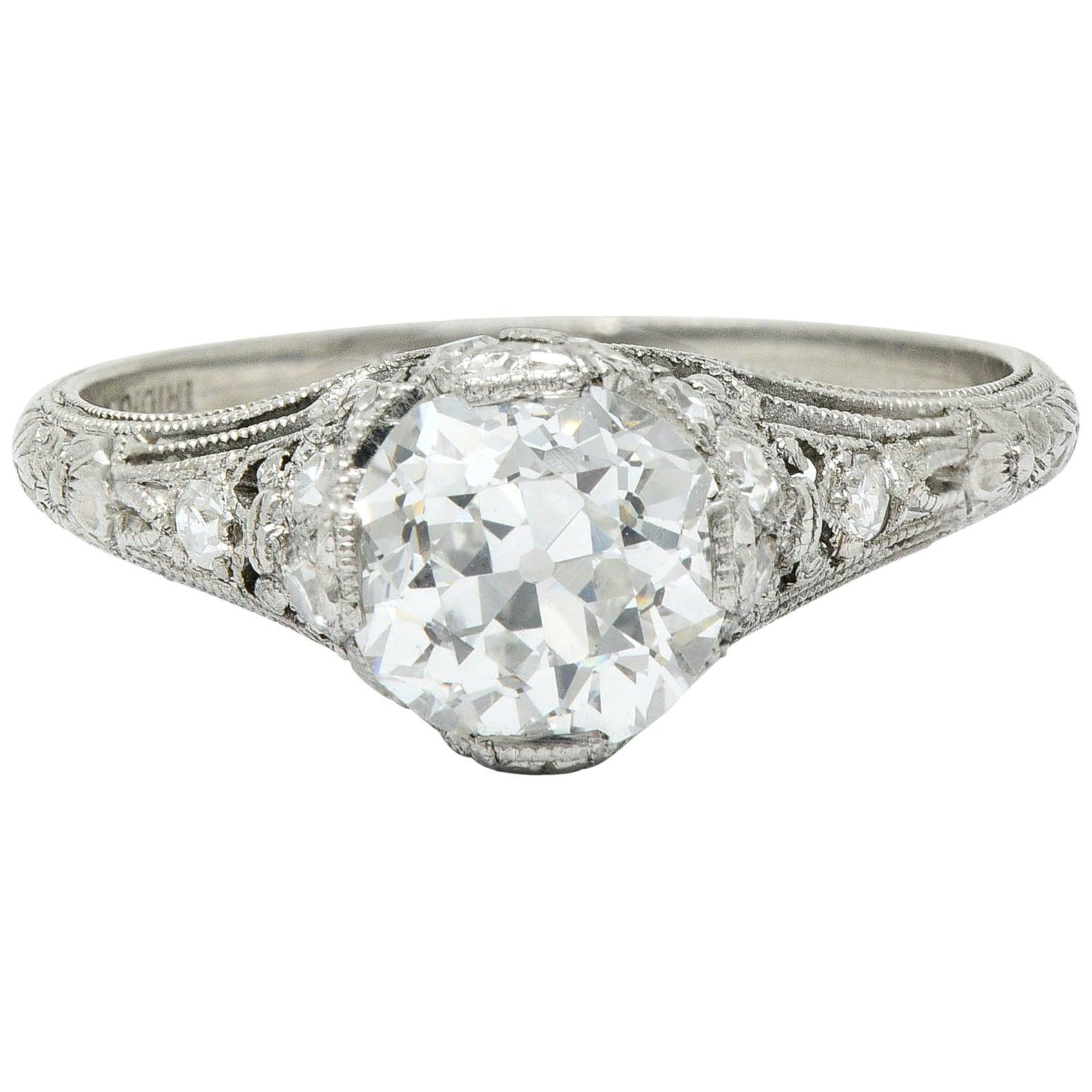 Edwardian 1.36 Carat Diamond Platinum Engagement Ring GIA