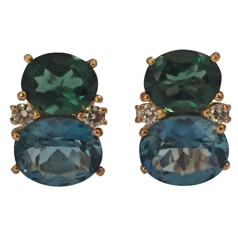 Medium GUM DROP™ Earrings with Tsavorite and Dark Blue Topaz and Diamonds