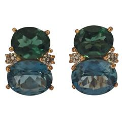 Medium GUM DROP™ Earrings with Tsavorite and Dark Blue Topaz and Diamonds