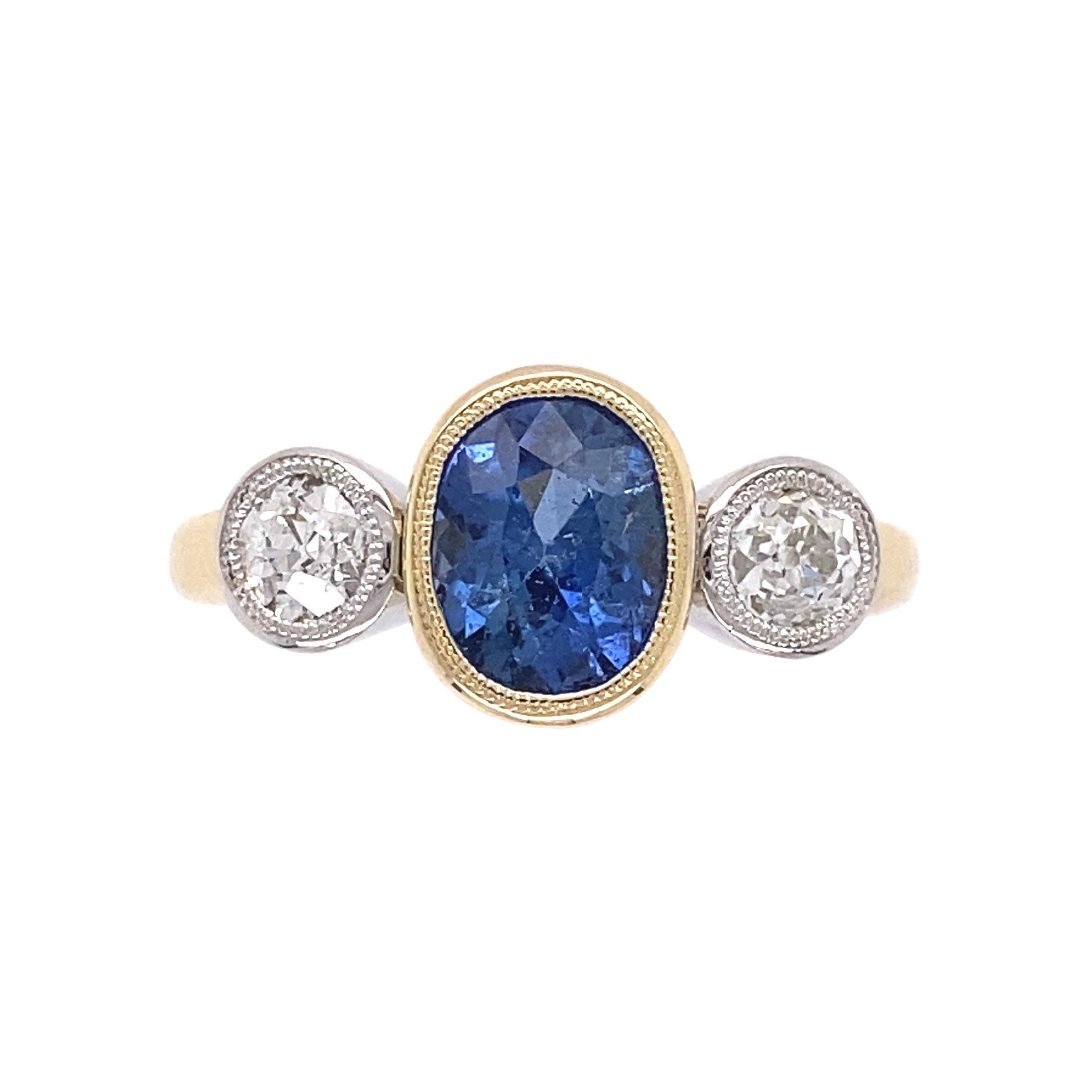 1.68 Carat Blue Sapphire and Diamond Gold Ring Estate Fine Jewelry