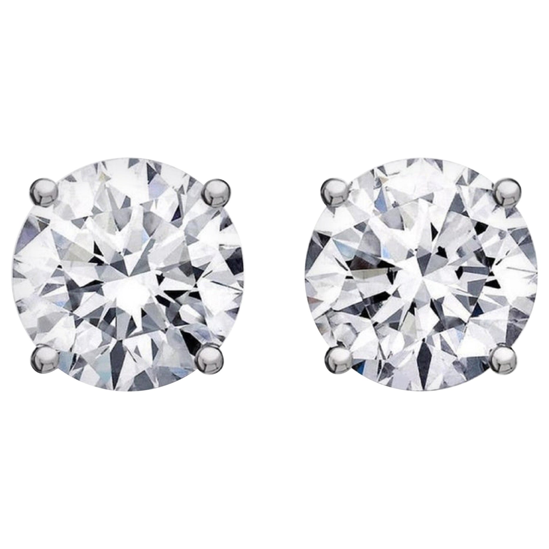 GIA Certified 4.02 Carat Certified Brilliant Cut Diamond Studs H  VS1 Clarity
