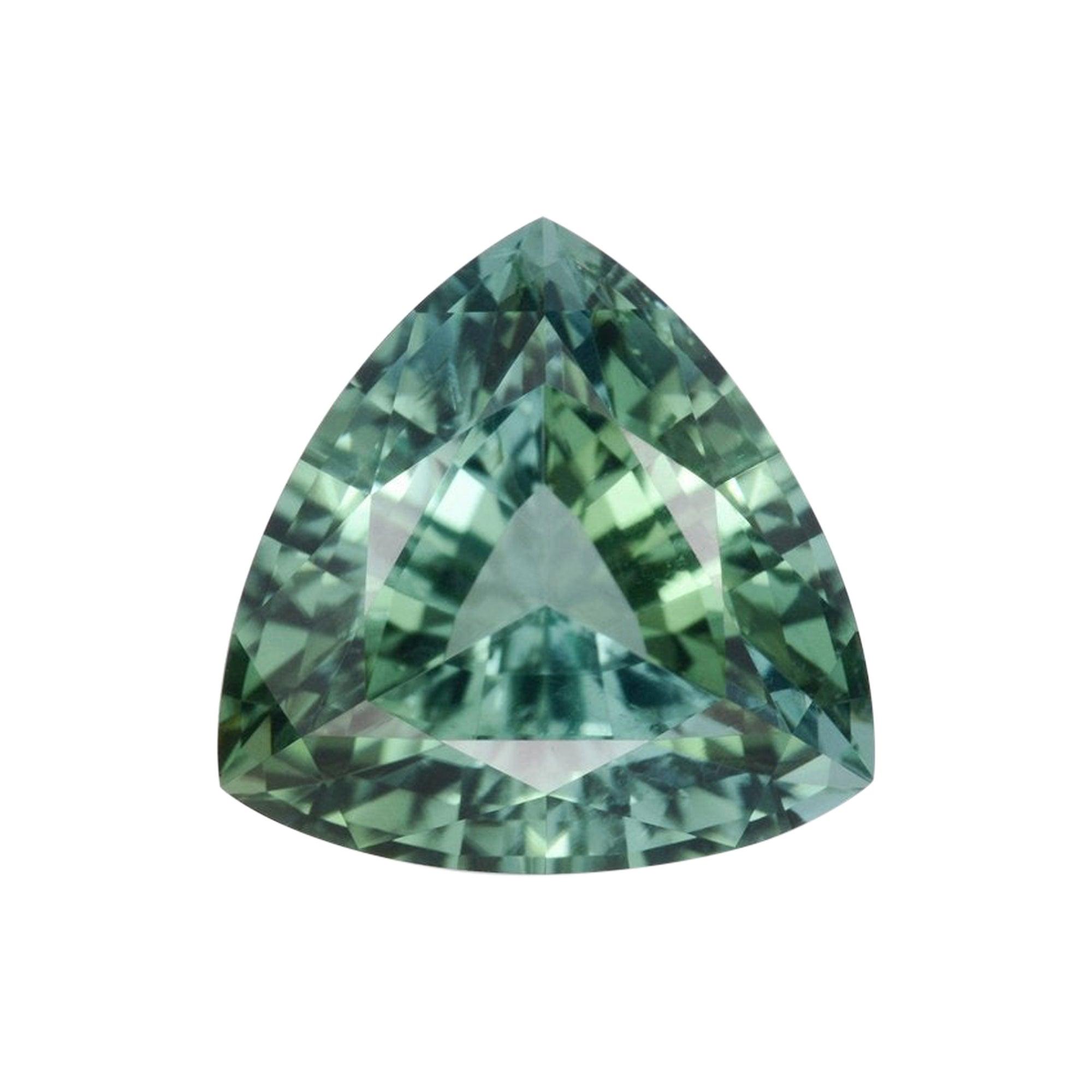 Green Tourmaline Ring Gem 3.77 Carat Trillion Loose Gemstone