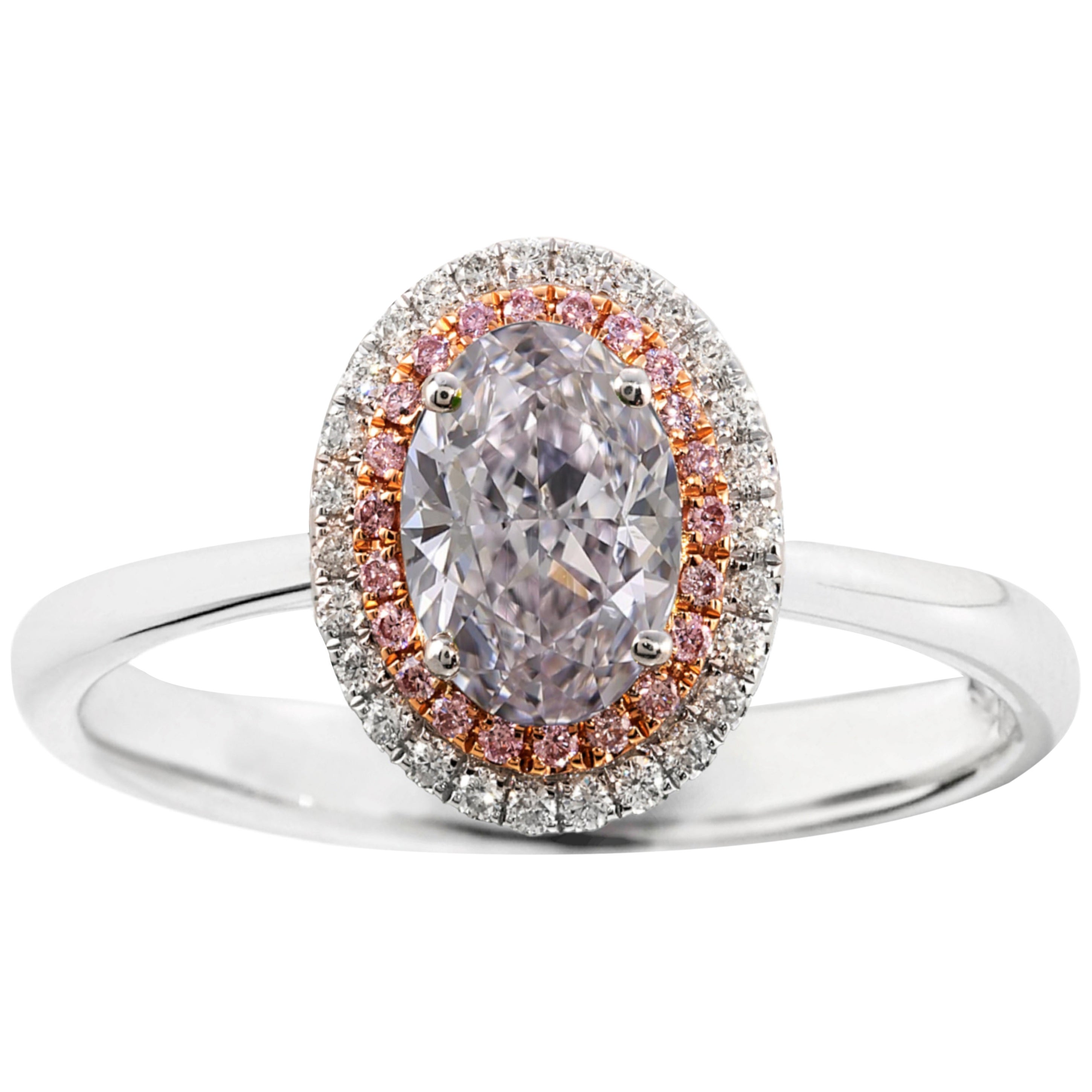 GIA Certified 1.75 Carat Light Pink Oval Diamond Double Halo Platinum Ring