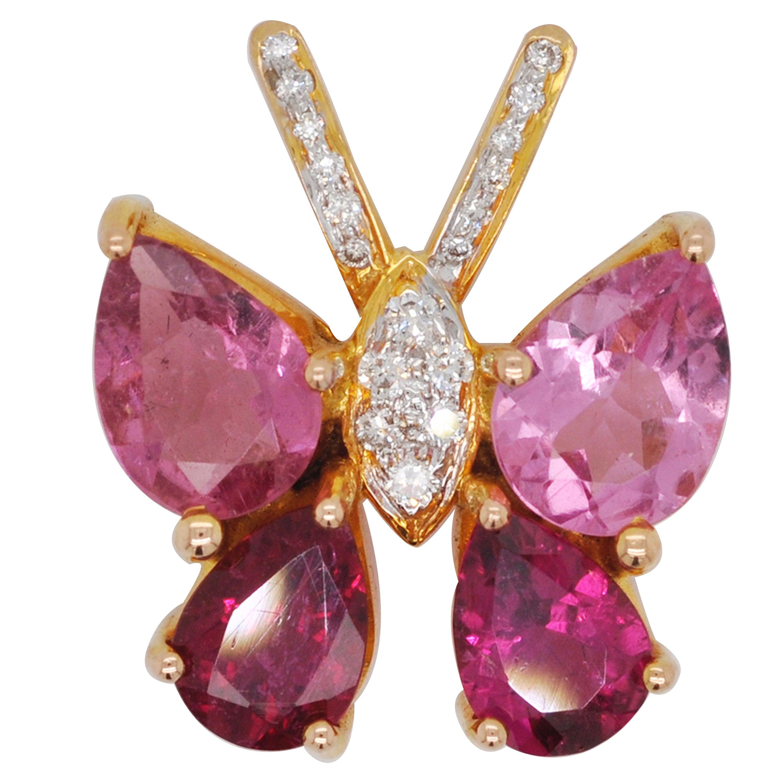 18 Karat Gold Pink Tourmaline Diamond Butterfly Pendant Necklace