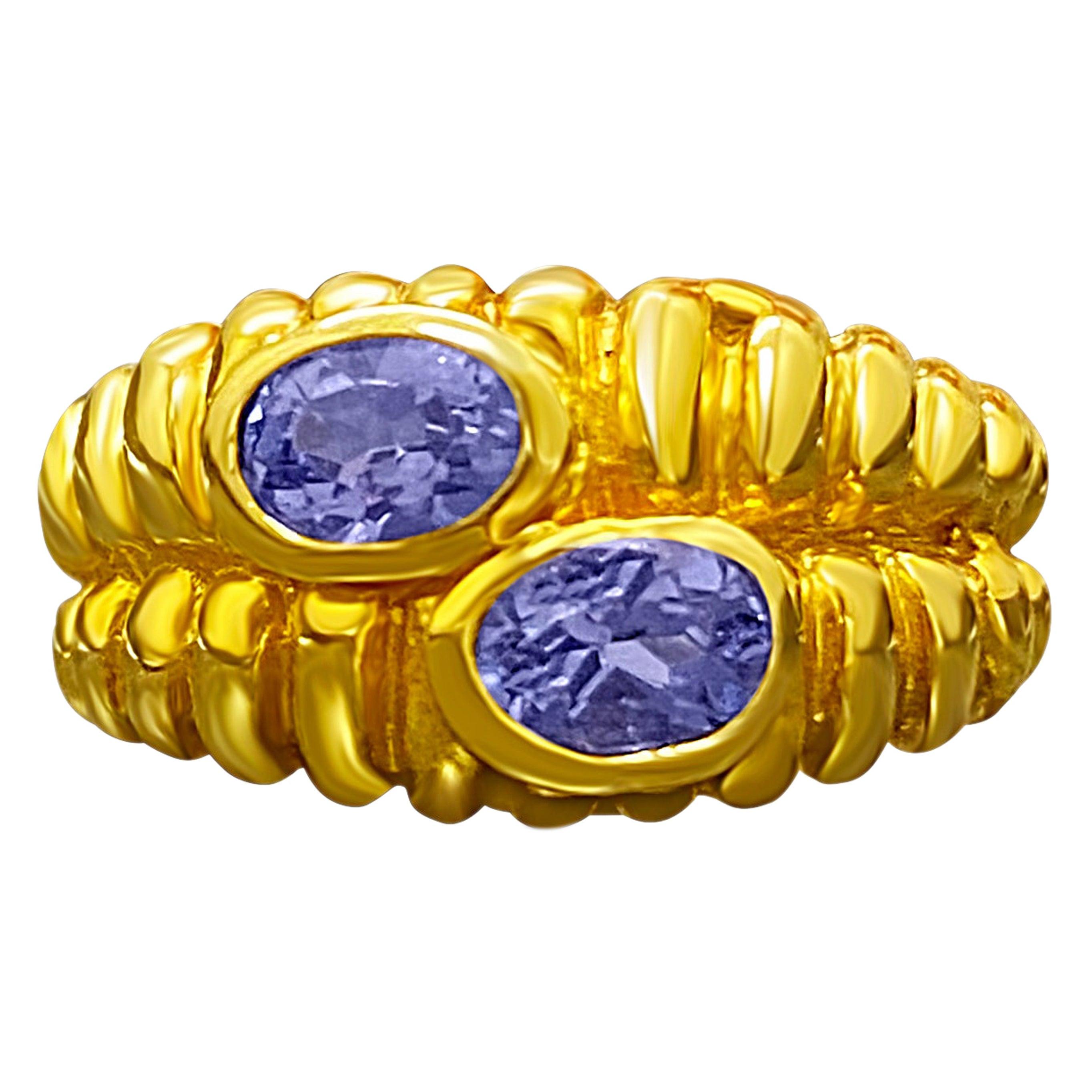 """0.80 Carat Tanzanite """"Toi Et Moi"""" 14 Karat Yellow Gold Oval Cut Engagement Ring"""
