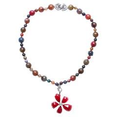 Clarissa Bronfman Agate Enamel Sapphire Diamond Rose Cut Diamond Flower Necklace