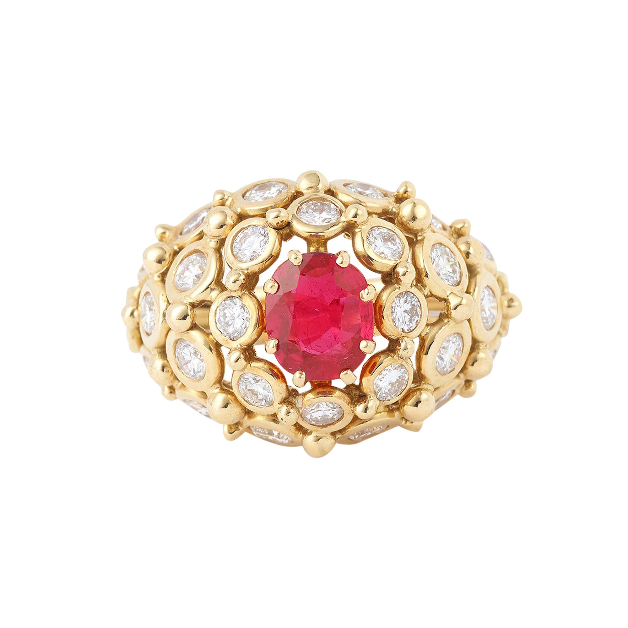 Dome 1 carat Ruby and Diamonds 18 Carat Yellow Gold Ring