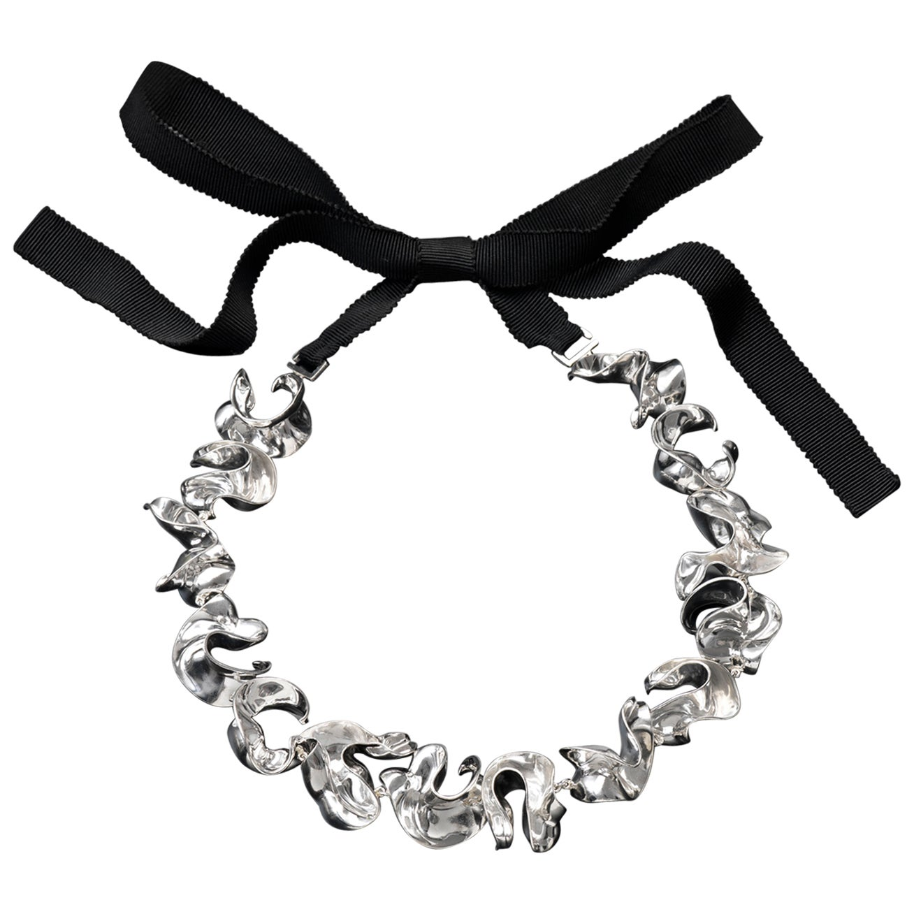Nathalie Jean Contemporary Limited Edition Sterling Silver Link Choker Necklace