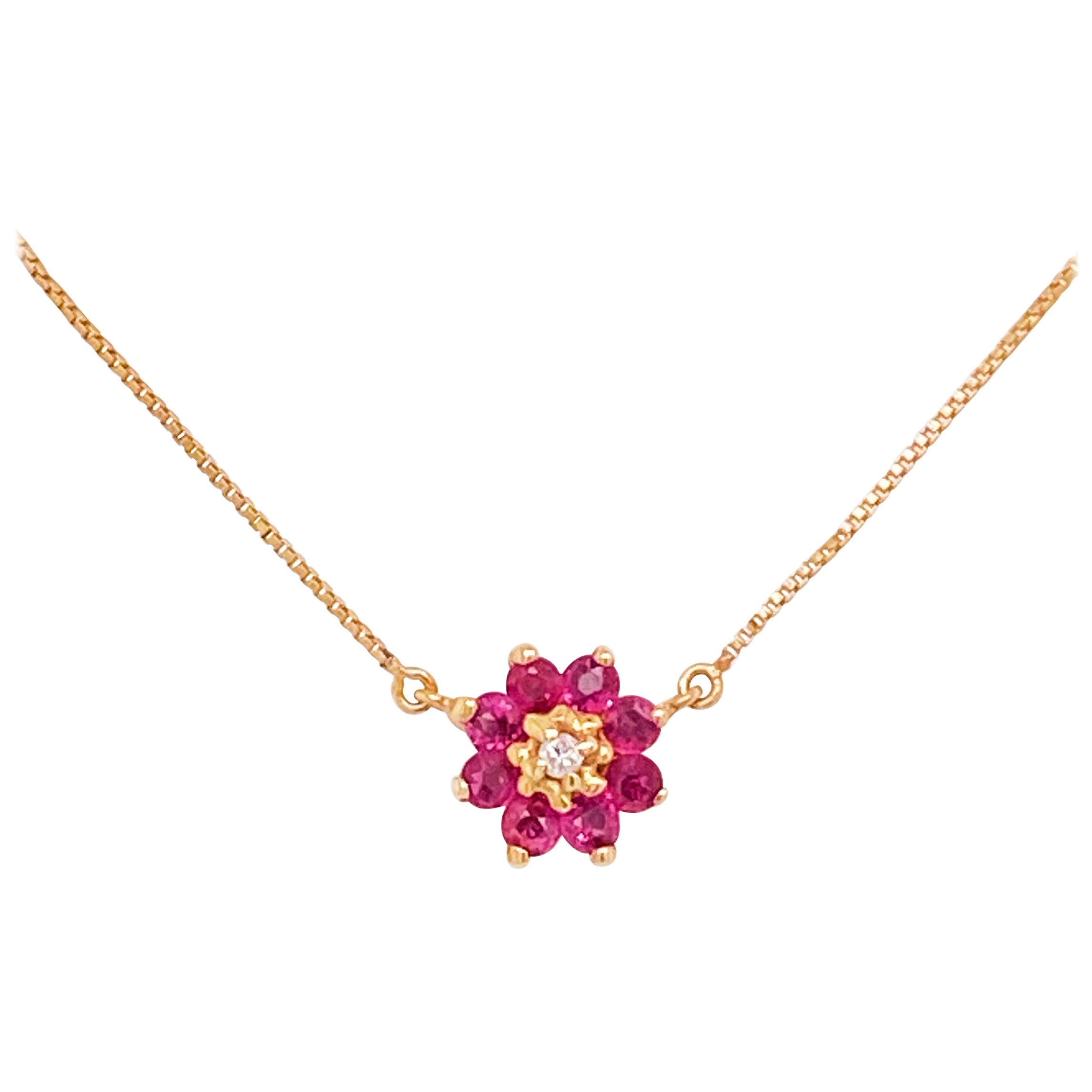 Ruby Cluster Necklace, Diamond, 14 Karat Yellow Gold, Flower Pendant, Dainty