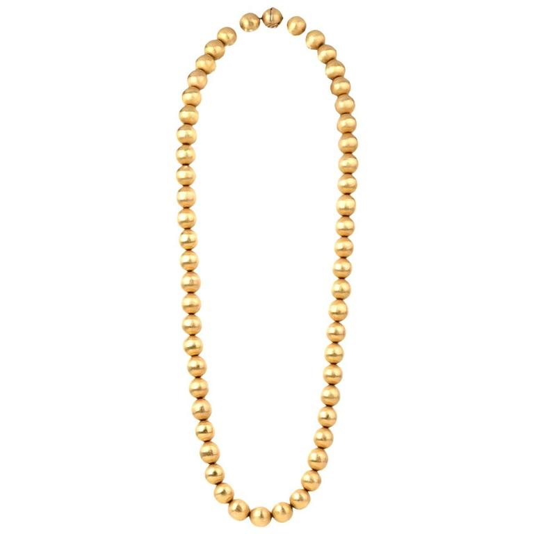 1980s Gold 14mm Beads Necklace 1
