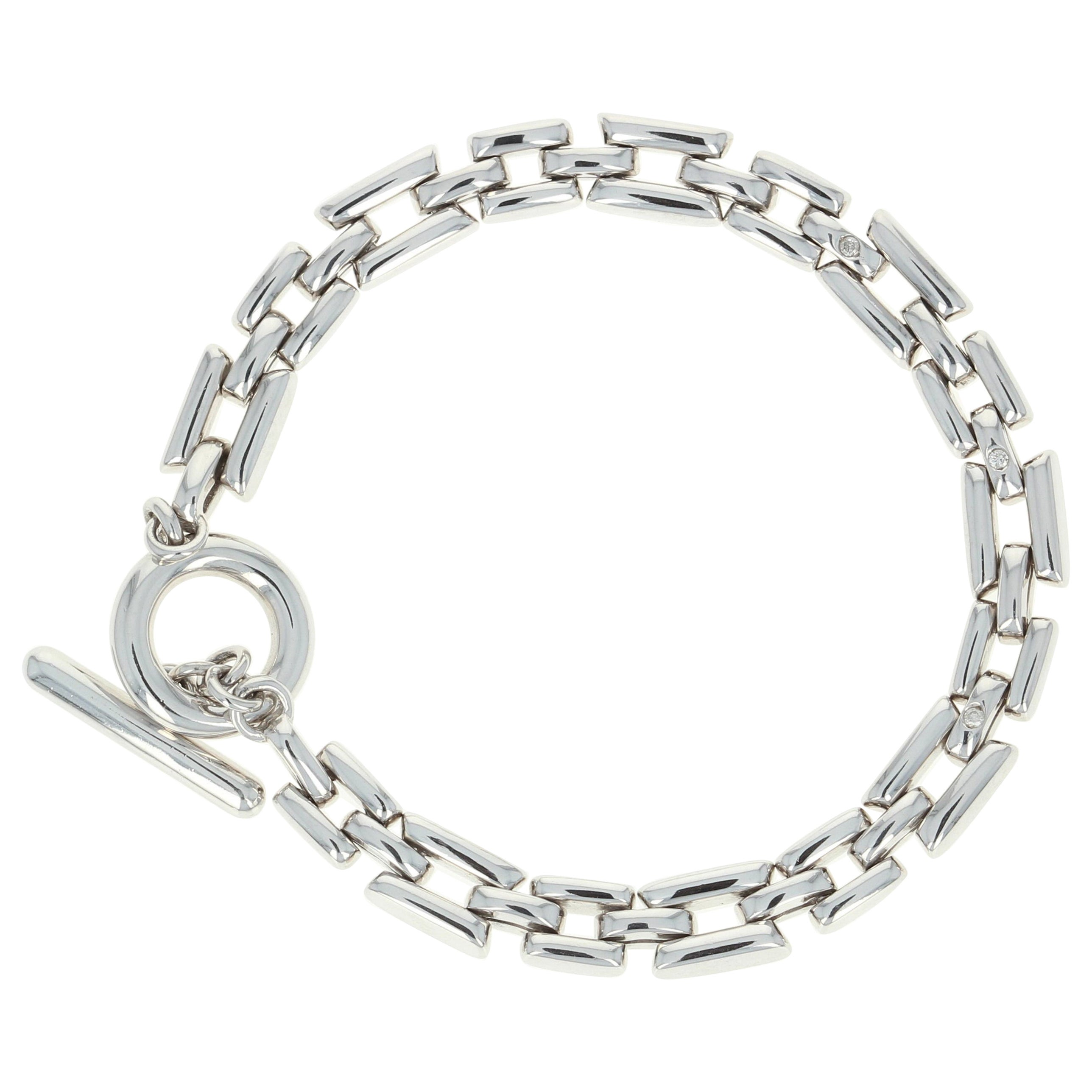 New Round Cut Diamond-Accented Link Bracelet, Silver Toggle Clasp