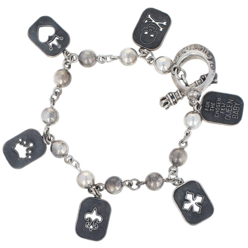 Queen Baby Charm Bracelet, Sterling Silver Toggle Clasp Women's