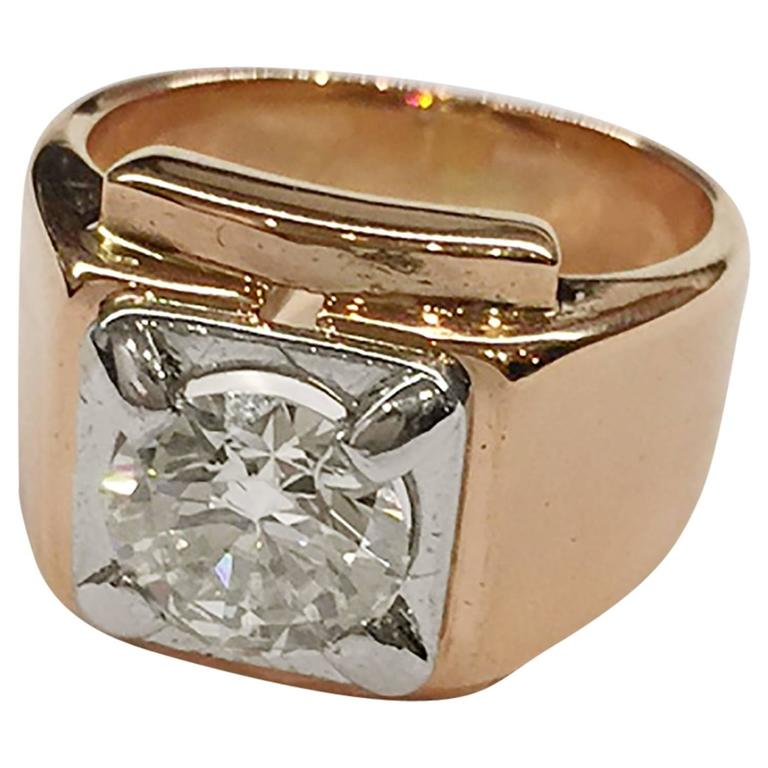 art deco 1.80 carat circular cut diamond gold platinum ring