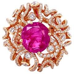 18 Karat Rose Gold 7.05 Carat Ruby Diamond Cocktail Ring