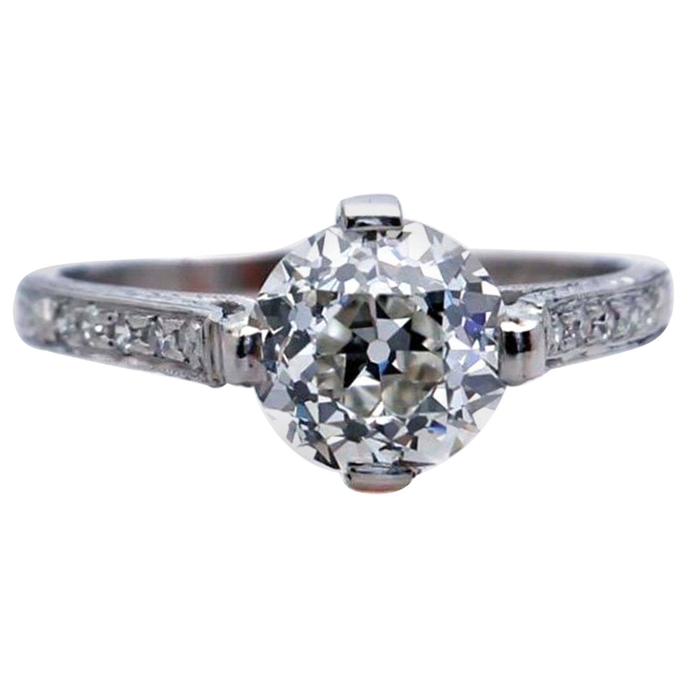 Art Deco 2.17 Carat Old European Cut Diamond Platinum Engagement Ring
