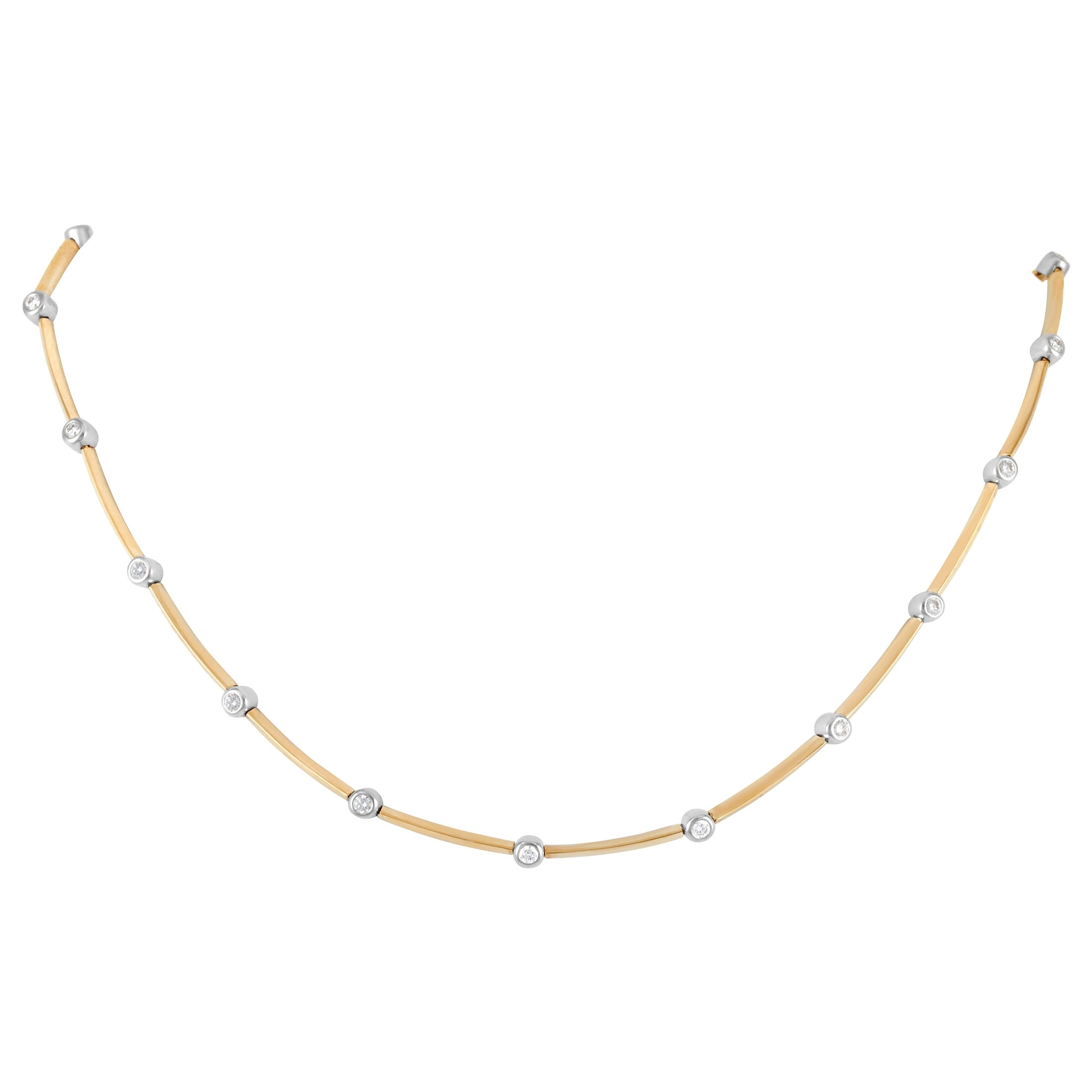 Tiffany & Co. 18 Karat Yellow Gold 1.00 Carat Diamond Necklace