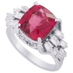 LB Exclusive Platinum 0.70 ct Diamond and Tourmaline Ring