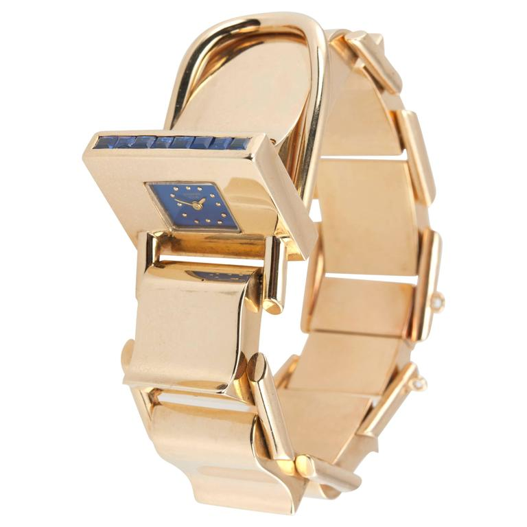 Shreve & Co. yellow Gold sapphire Bracelet wristwatch