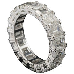 Emerald Cut 1/2 Carat Each Diamond Eternity Ring in 18 Karat Gold