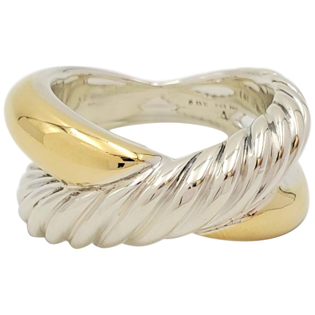 David Yurman Sterling Silver and Yellow Gold Crossover Ring