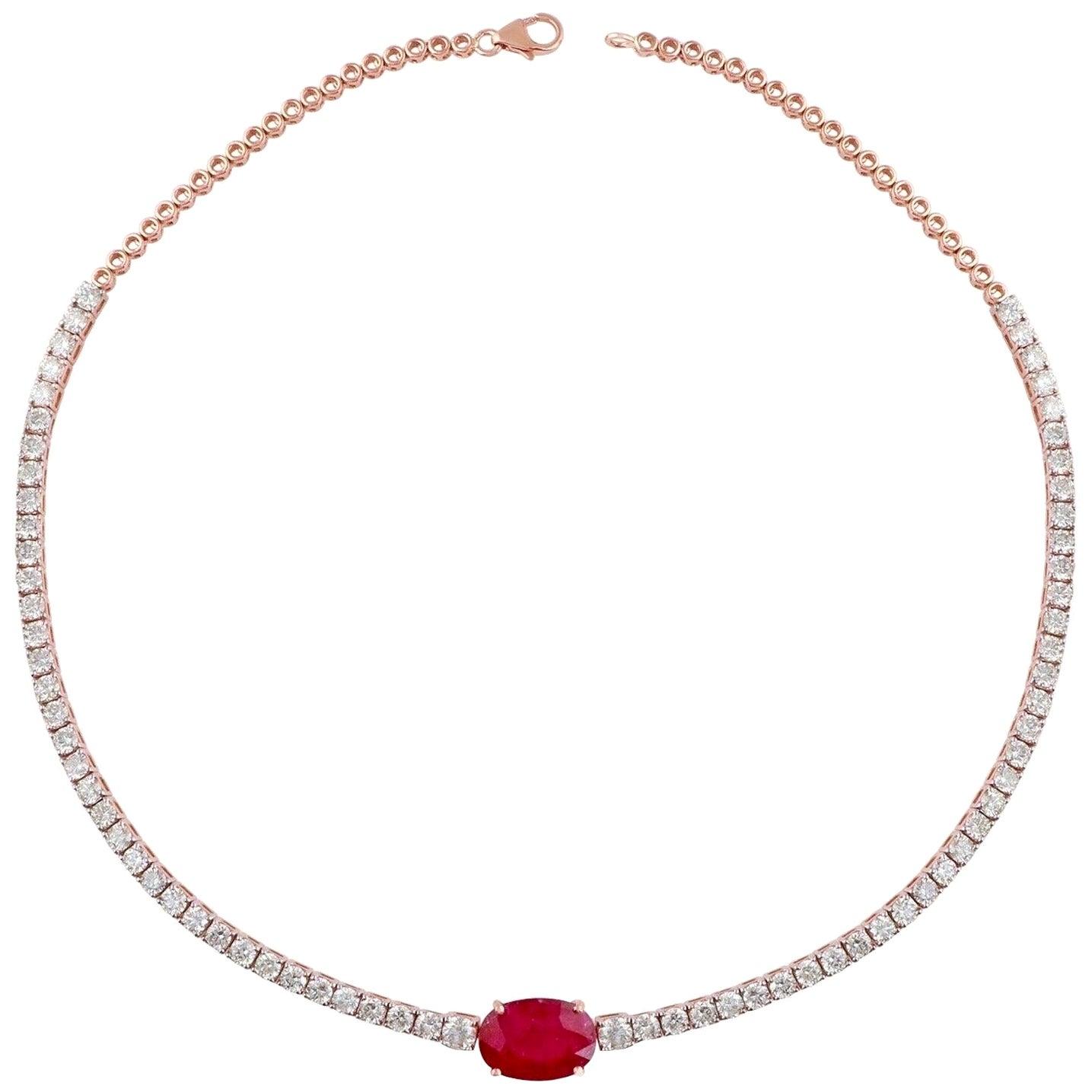 6.10 Carat Diamond 18 Karat Rose Gold Choker Necklace