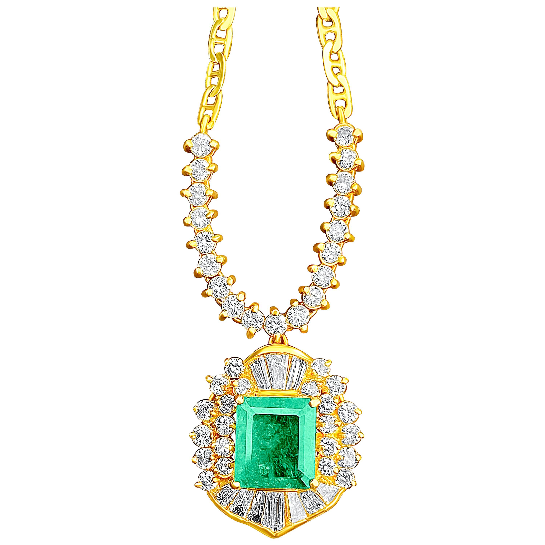 1.33 Carat Emerald-Cut Colombian Emerald, Diamond and 18 Karat Gold Pendant