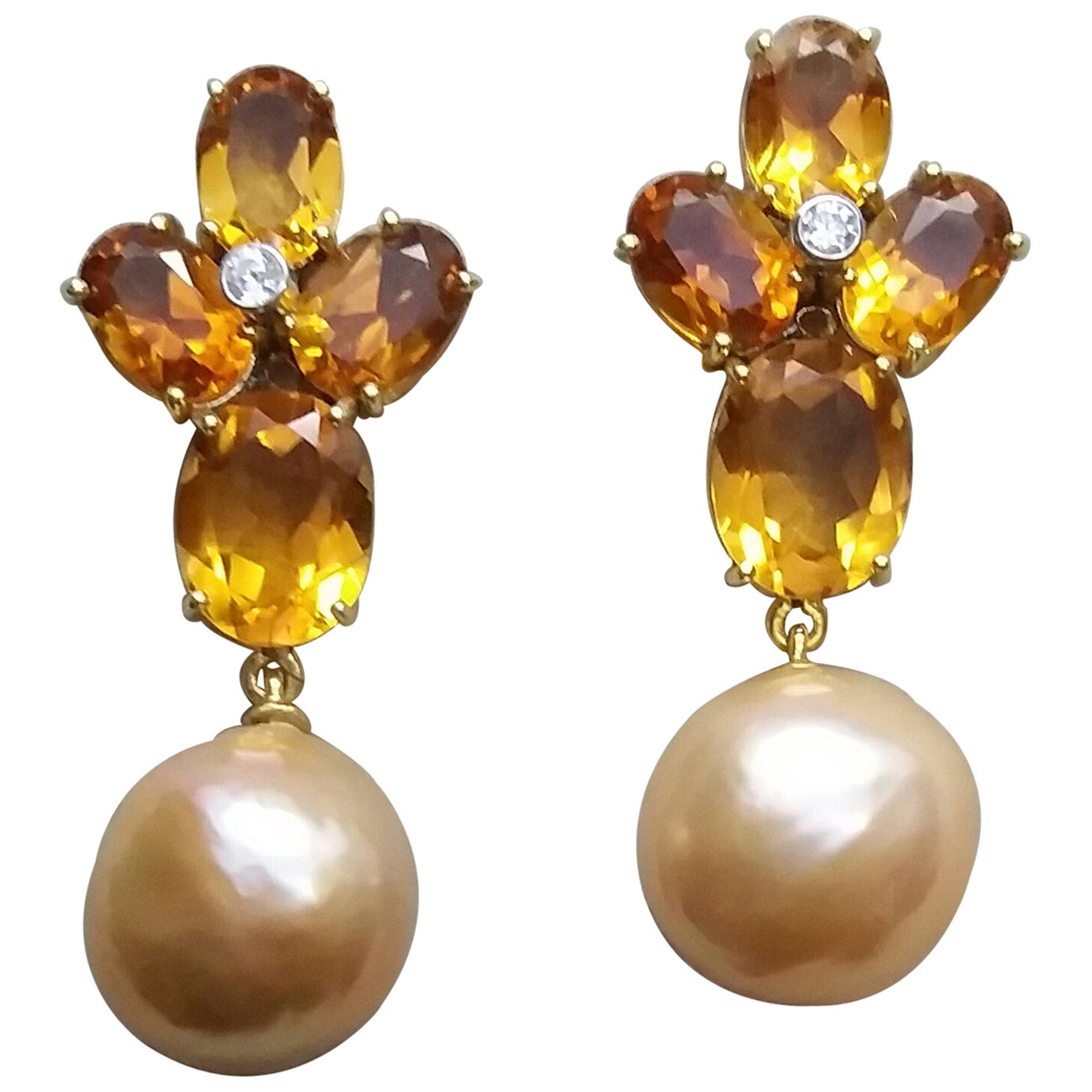 Oval Faceted Citrine Gold Diamonds Natural Cream Color Baroque Pearls Earrings