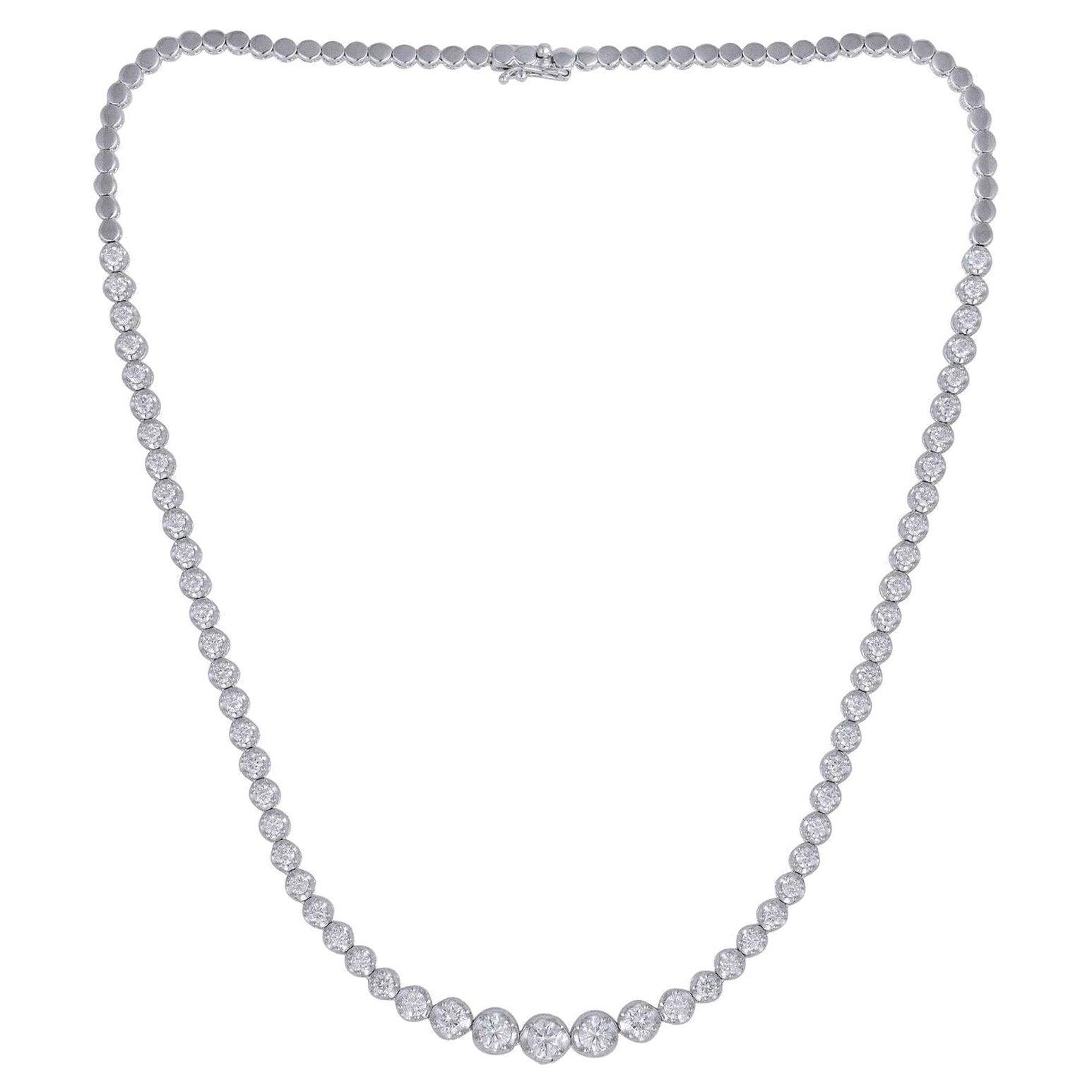 4.60 Carat Graduated Diamond 18 Karat White Gold Choker Necklace