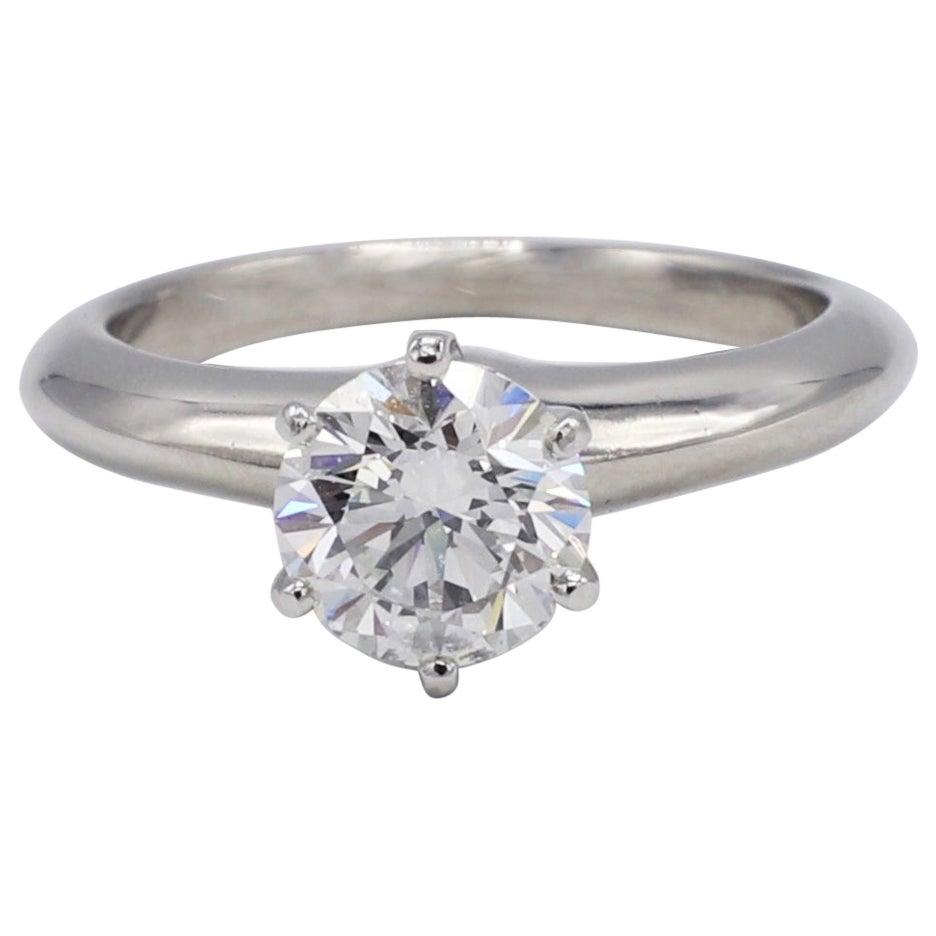 Tiffany & Co. Platinum .99 Carat Solitaire Round Diamond Engagement Ring
