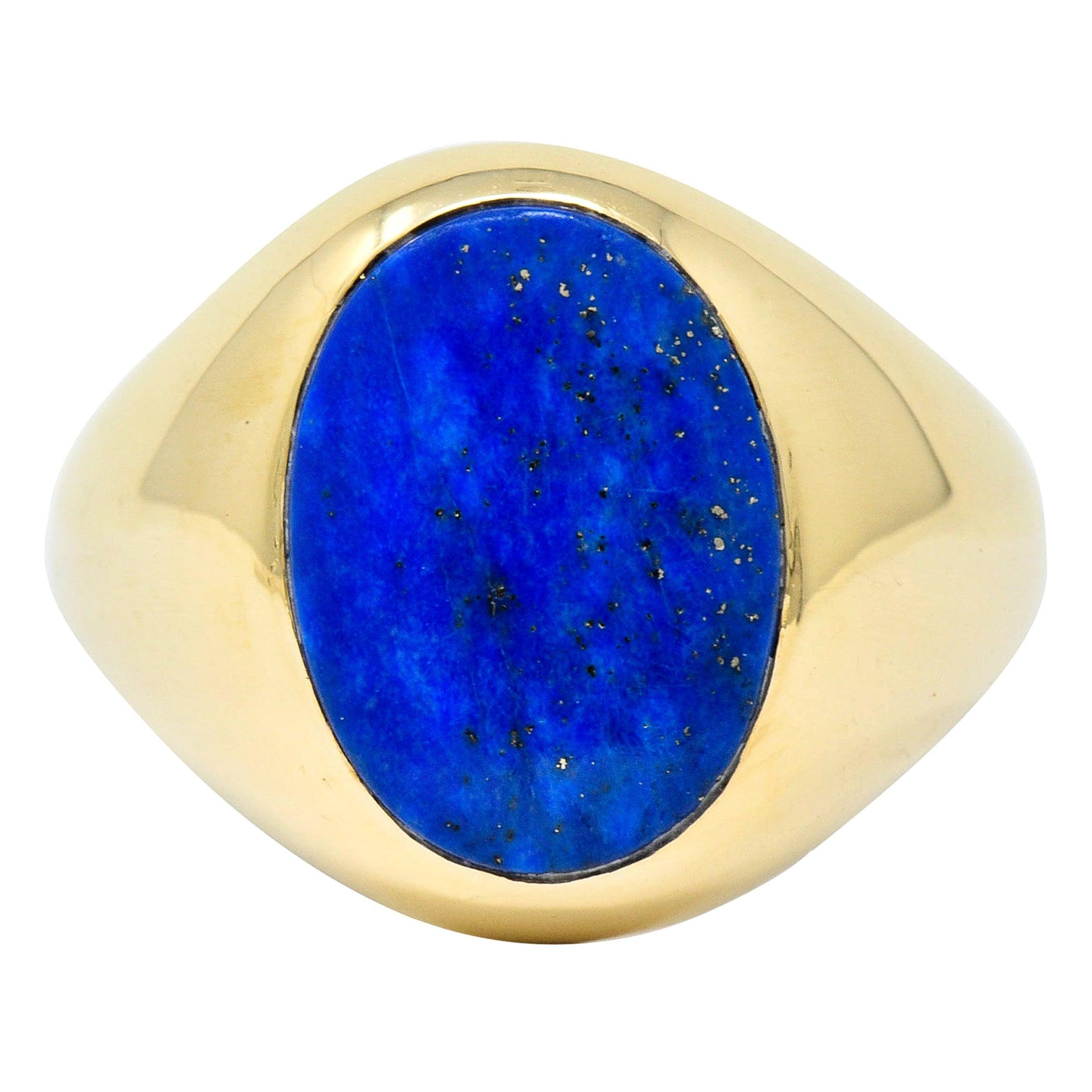 1950s Larter & Sons Lapis Lazuli 14 Karat Gold Men's Signet Ring