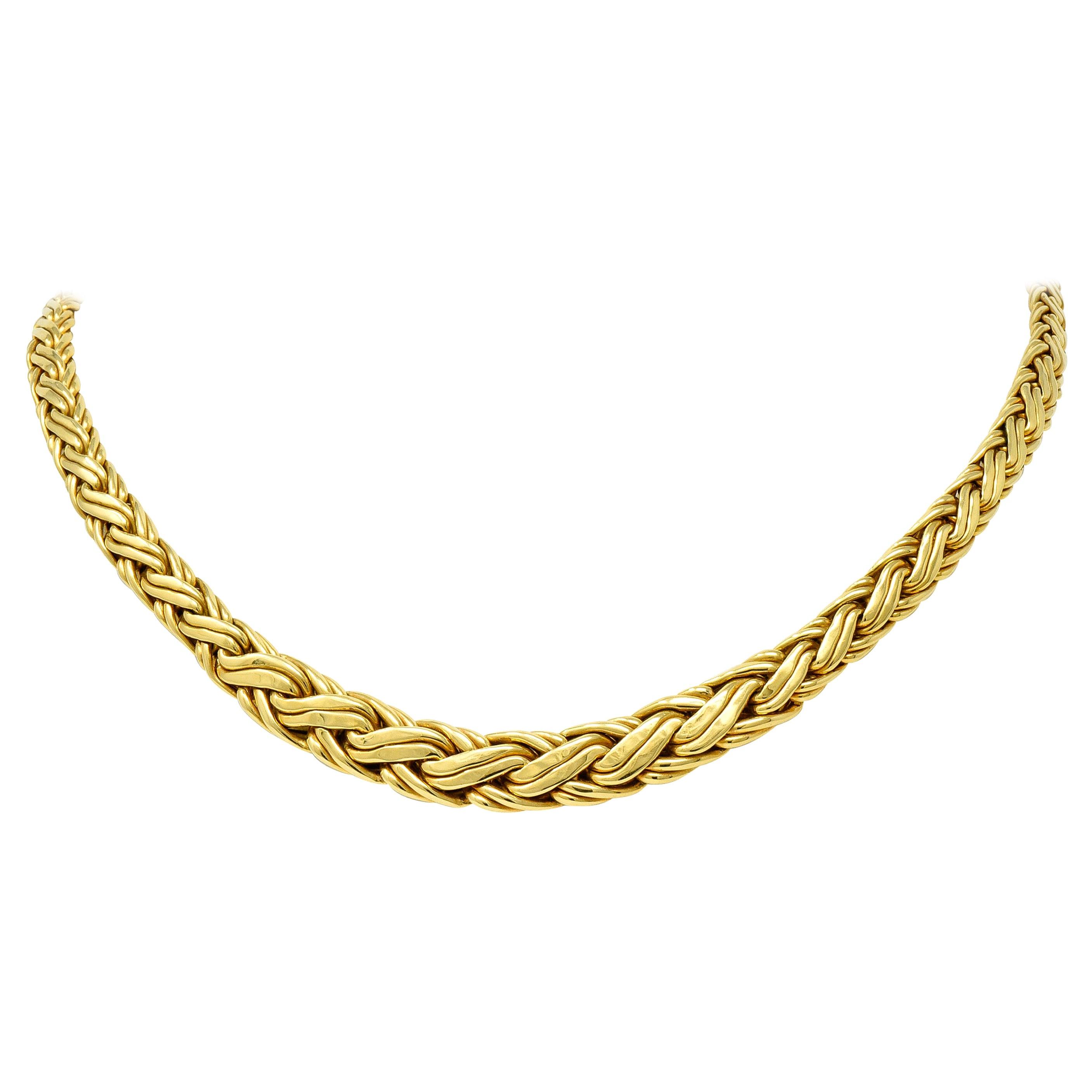 Tiffany & Co. 1980s Vintage 18 Karat Gold Wheat Chain Collar Necklace