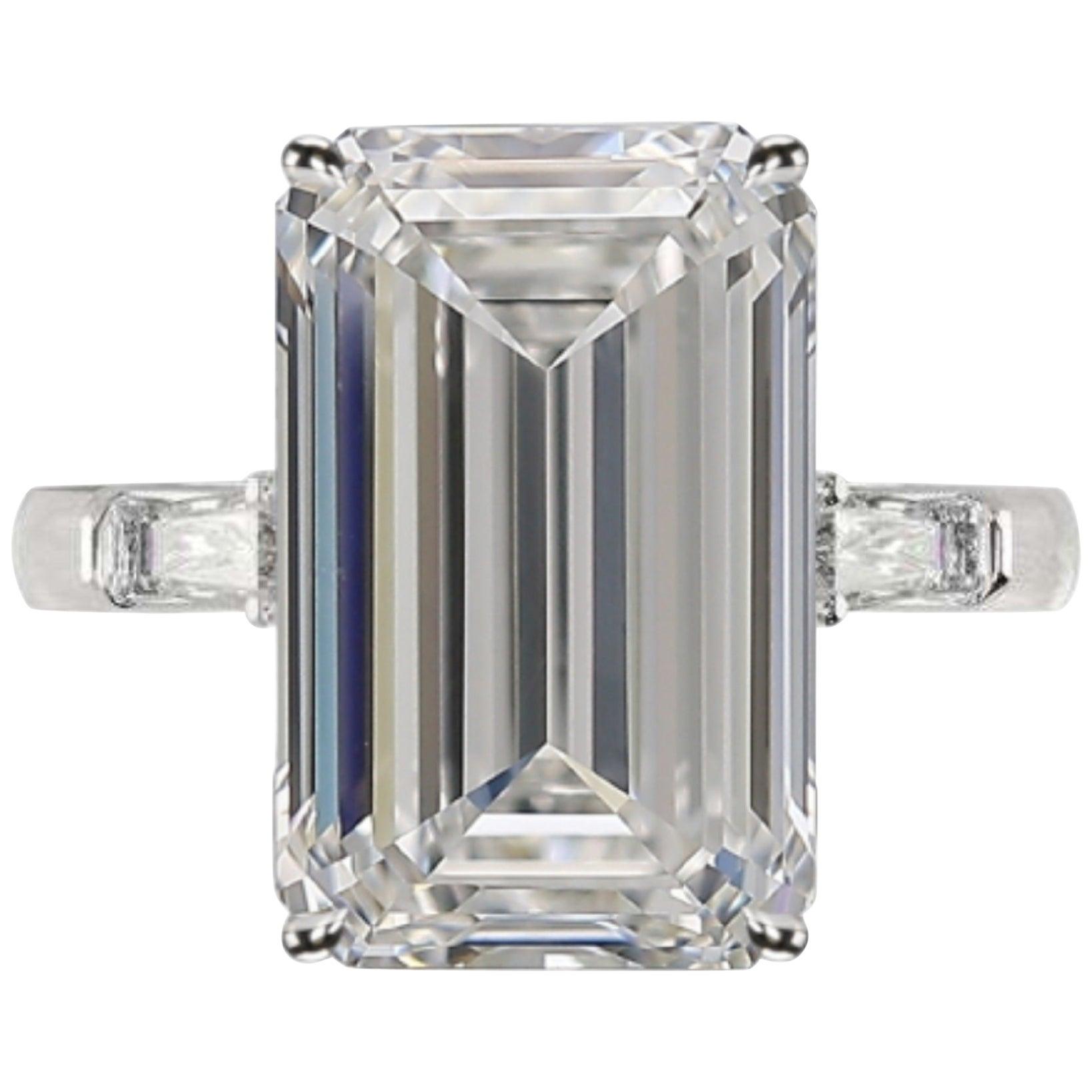 GIA Certified 5.50 Carat Emerald Cut Diamond Ring Very Long Ratio