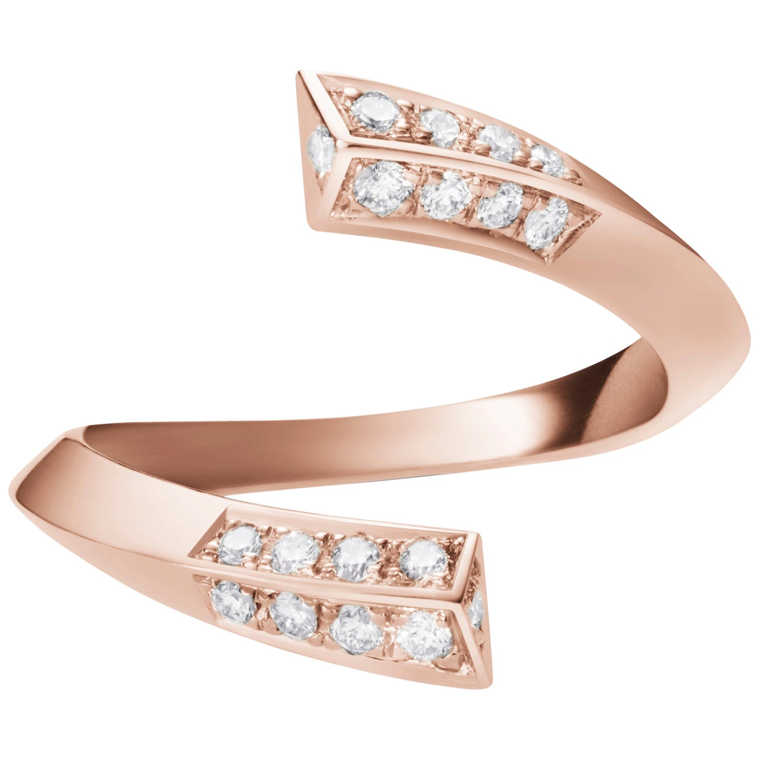 Eva Ring in Rose Gold with White Diamonds by Selin Kent