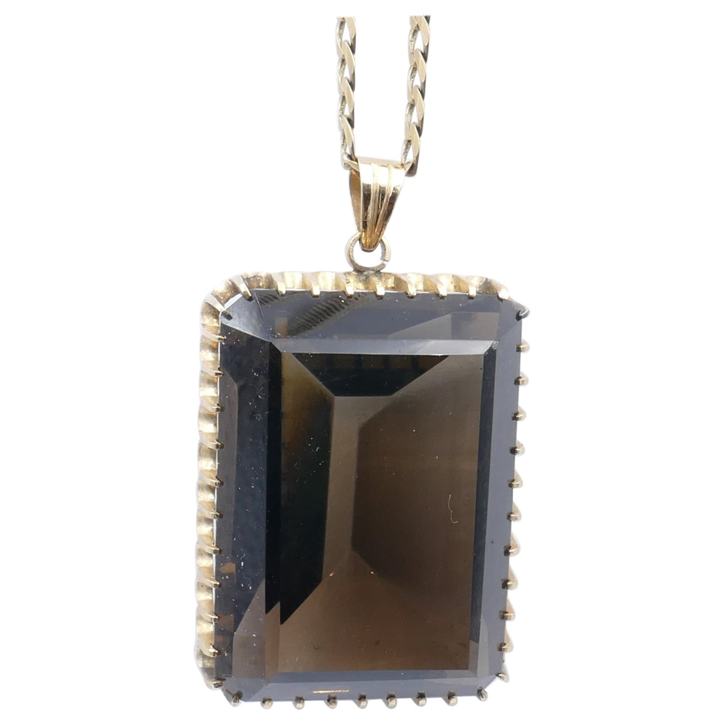 Vintage 14 Karat Yellow Gold Smokey Quartz Large Pendant